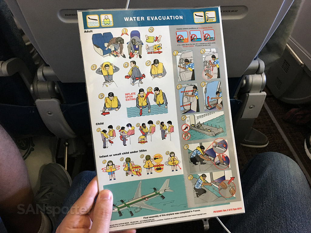 Hawaiian Airlines A330 safety card rear cover