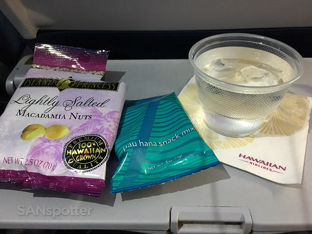 Hawaiian Airlines premium economy snacks