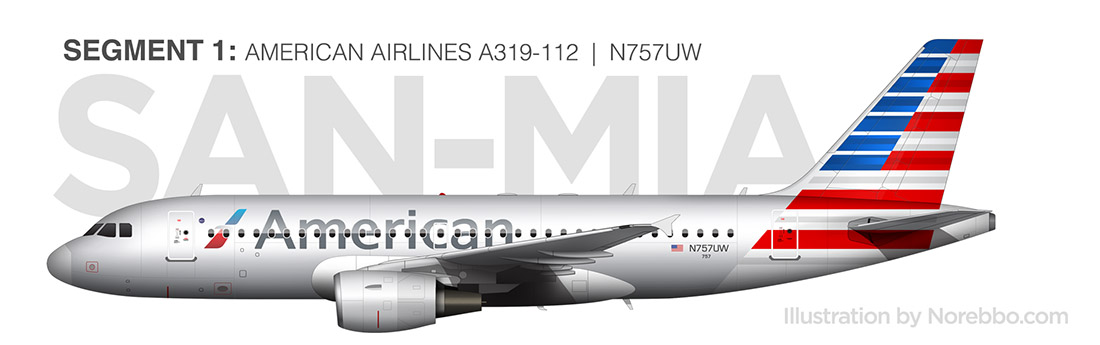 american airlines a319 side view