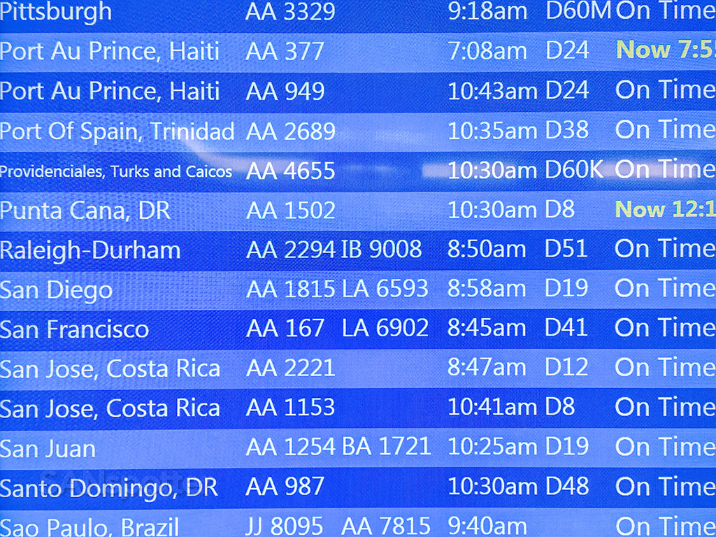 Flight information board MIA airport
