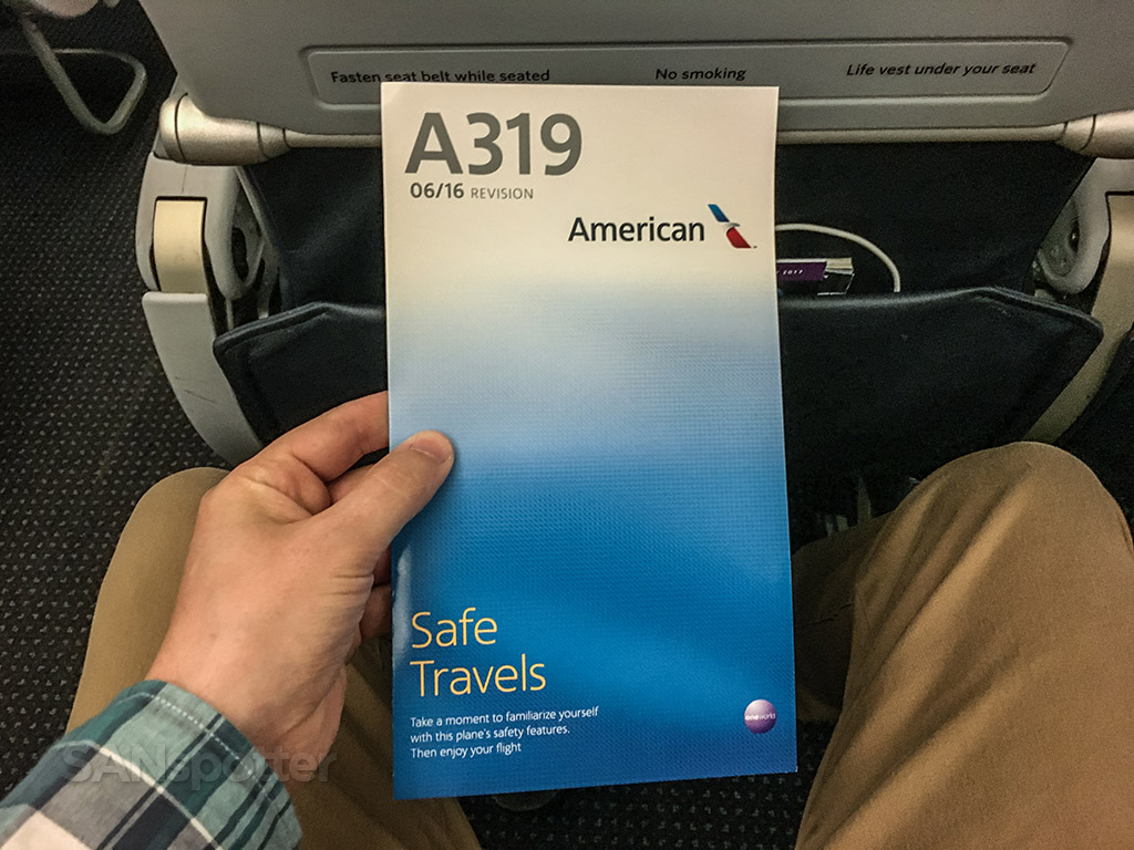 American Airlines a319 safety card