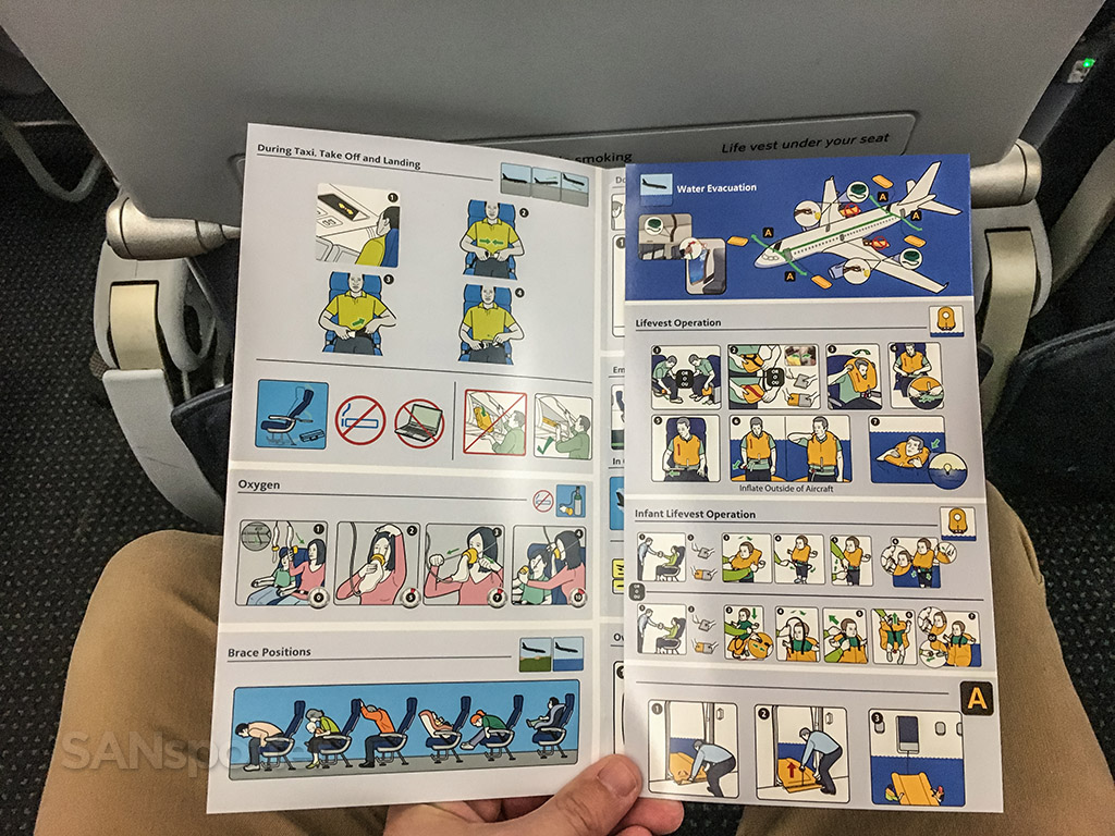 American Airlines a319 safety card inner cover