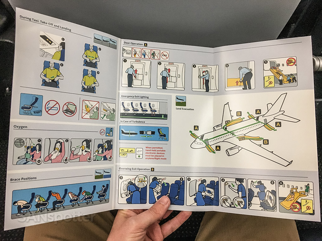 American Airlines A319 safety card full interior