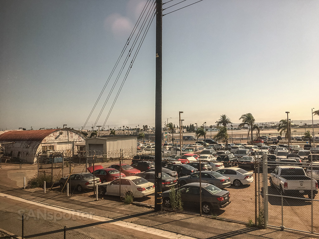 View of San Diego airport from train