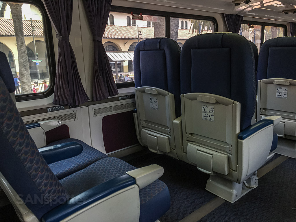 Amtrak Pacific Surfliner business class seats