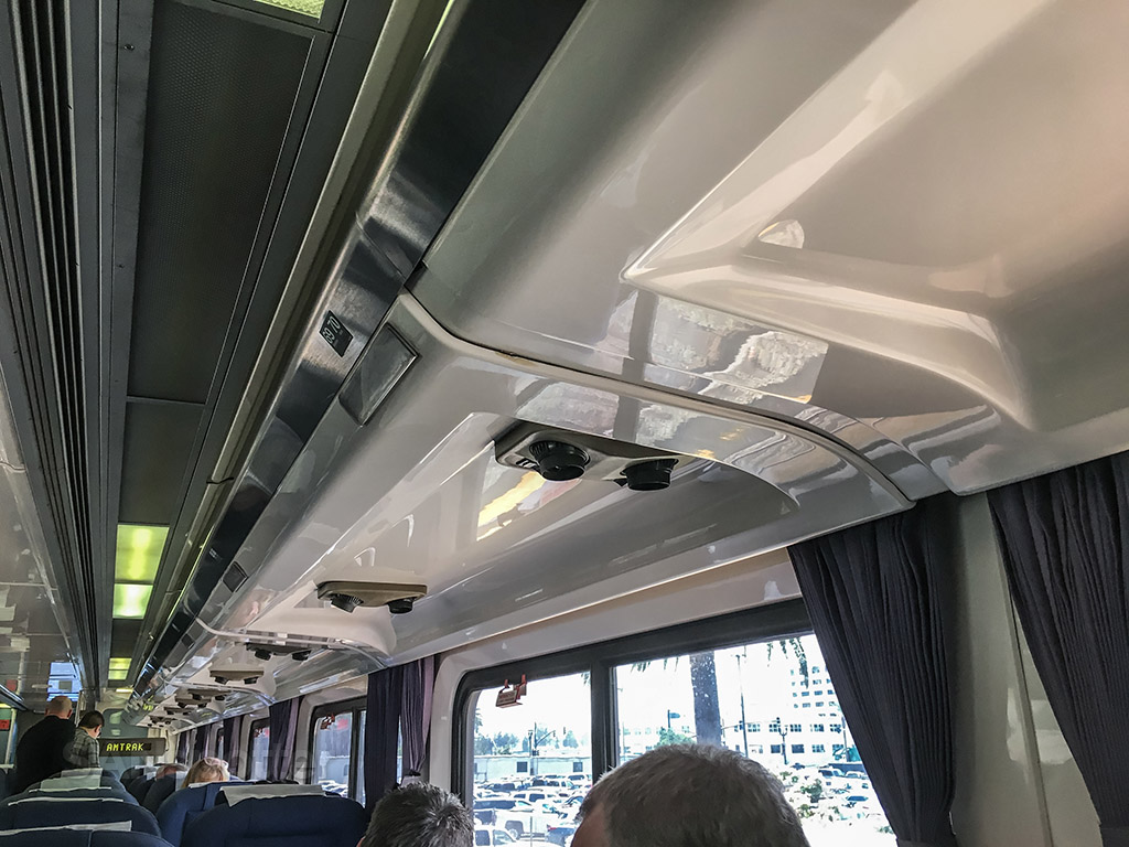 Amtrak pacific surf liner train ceiling