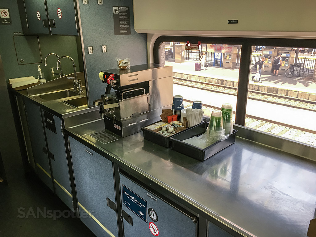 Amtrak Pacific surf liner train kitchen