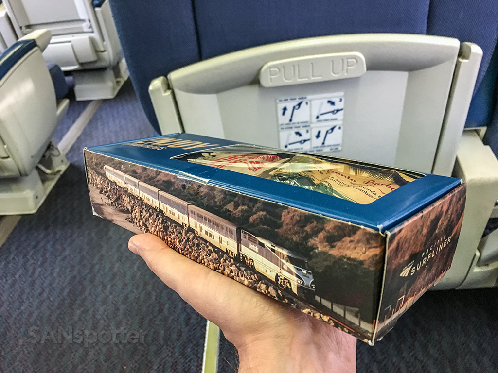 Amtrak to Pacific surfliner snack box exterior