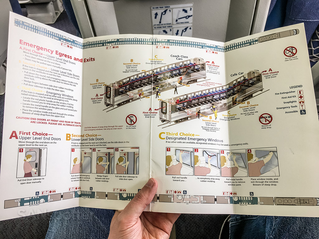 Amtrak Pacific surfliner safety card interior