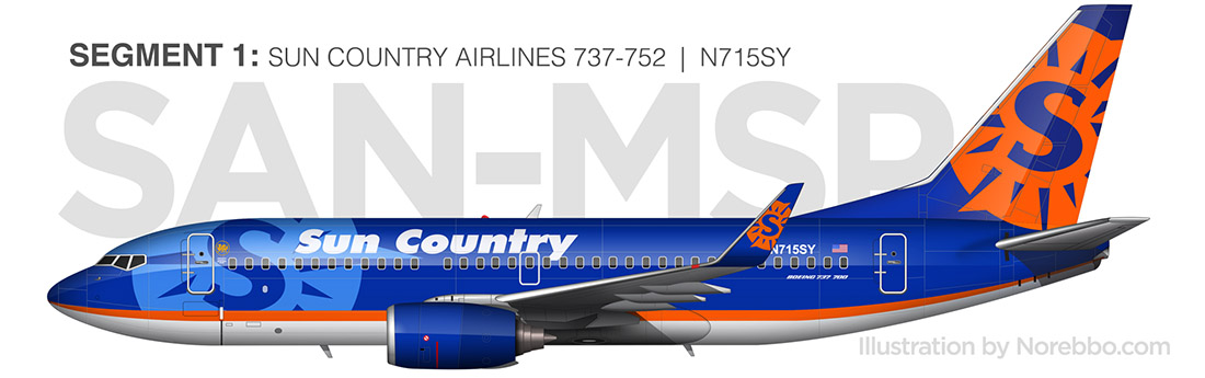 Sun country 737-700 side view