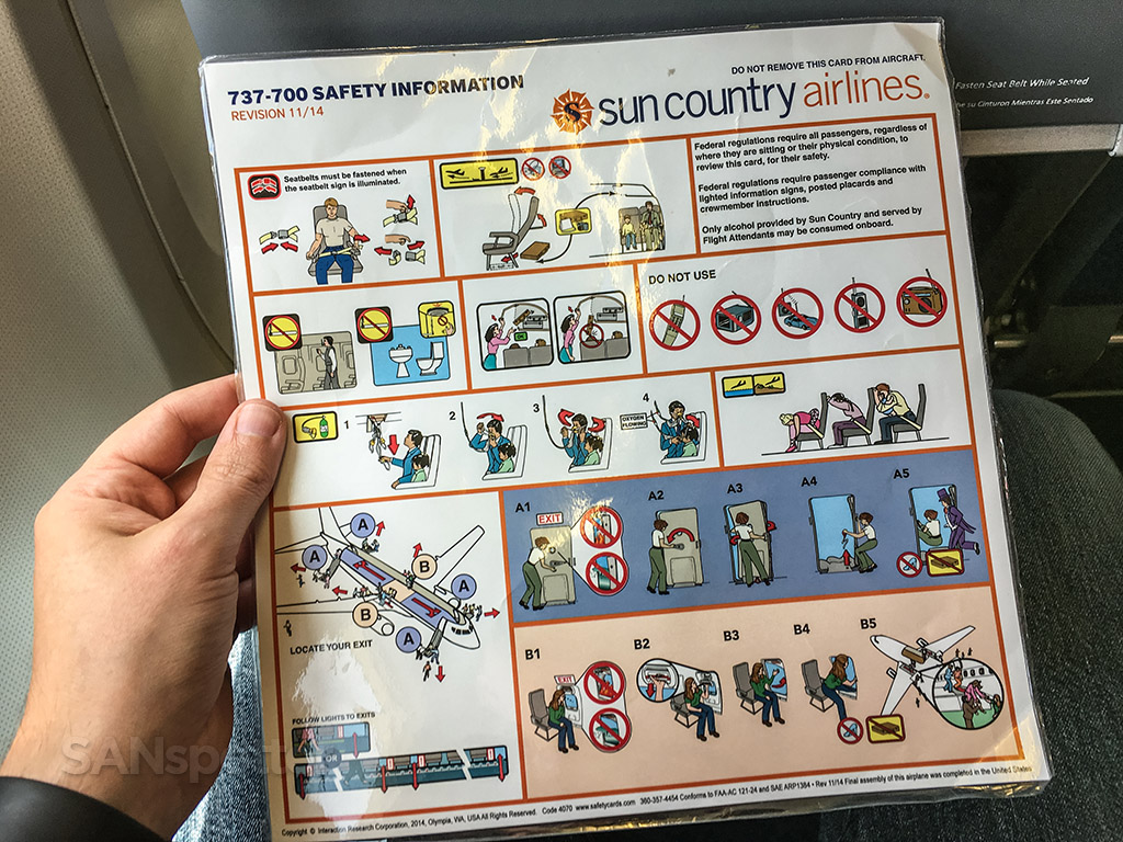 Sun country 737-700 safety card