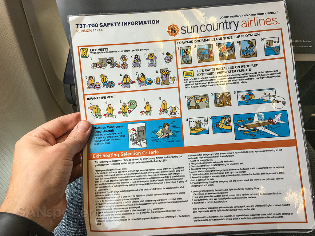 Sun country 737-700 safety card back