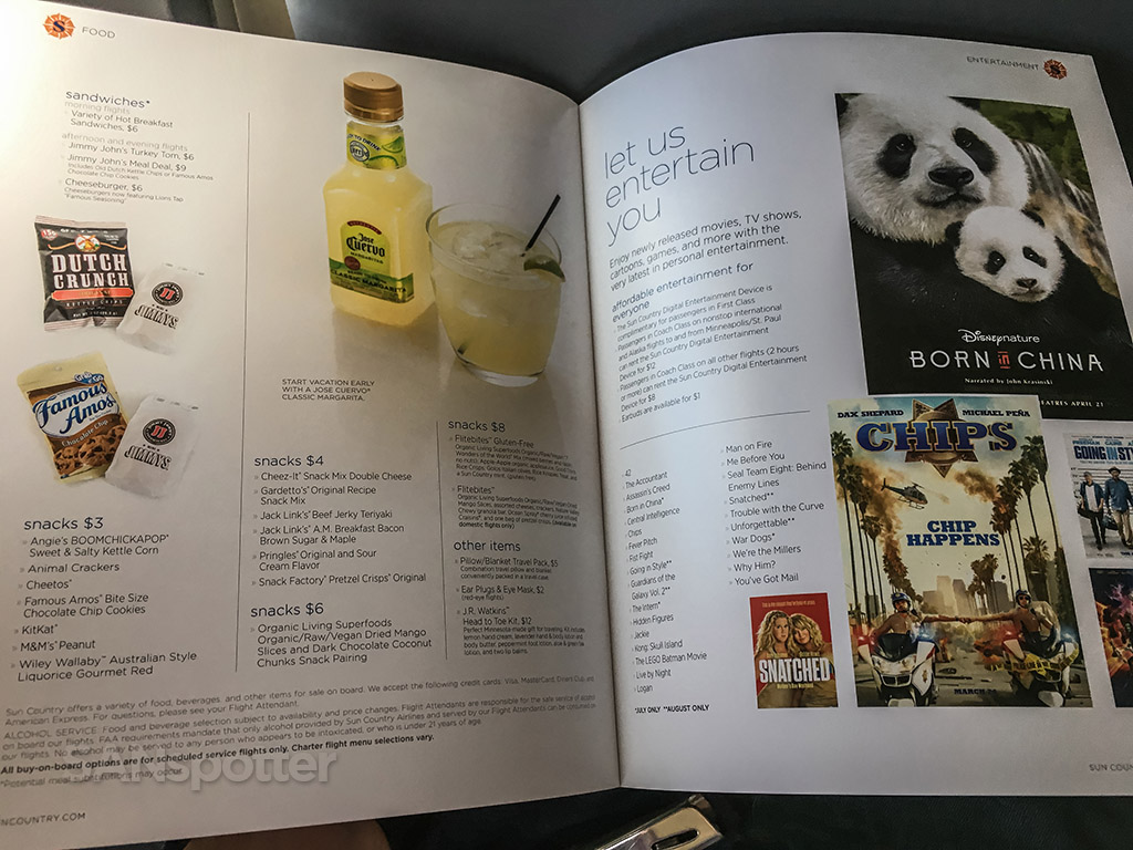 Sun country airlines drink menu