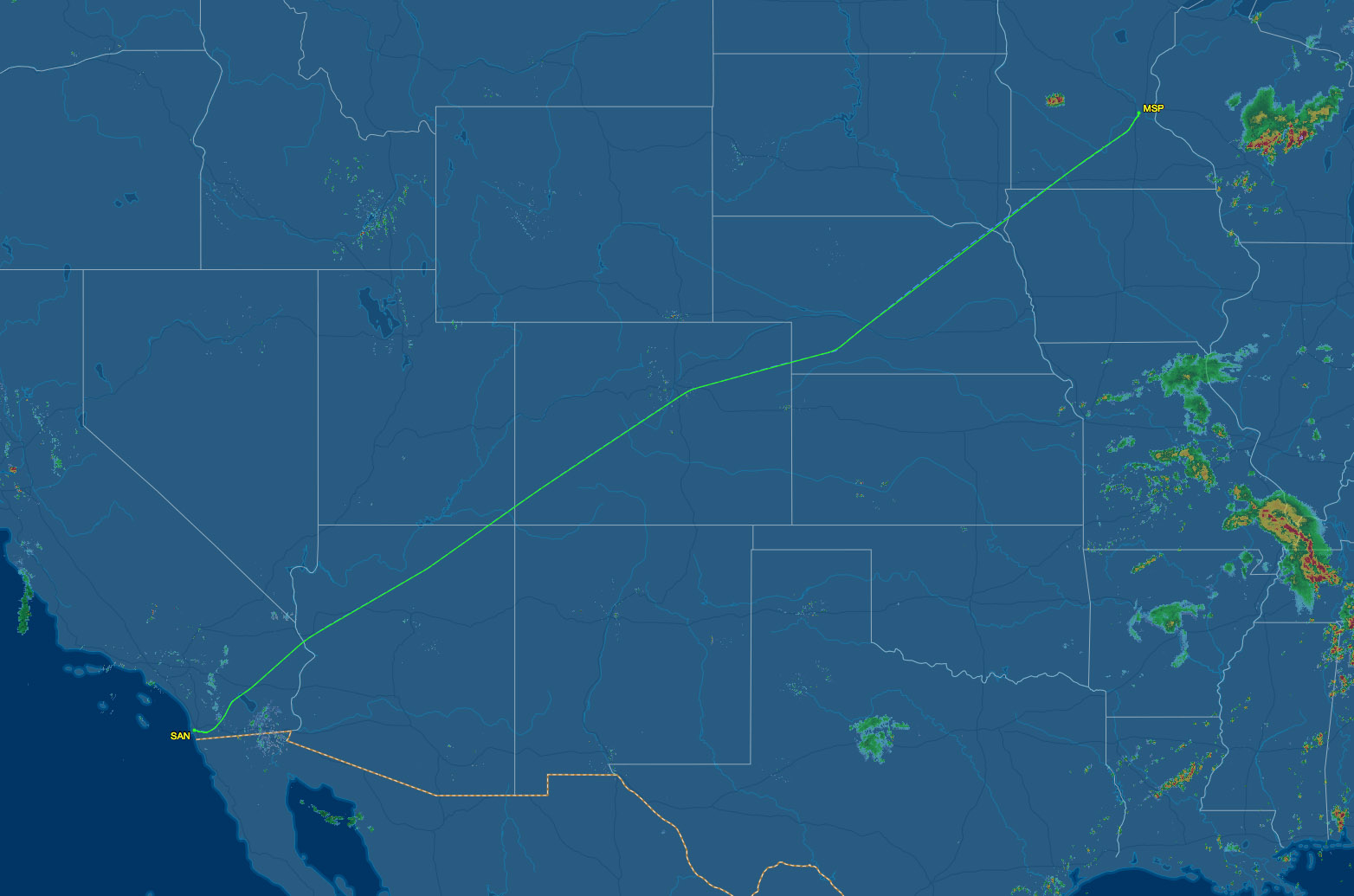 MSP to SAN flight path