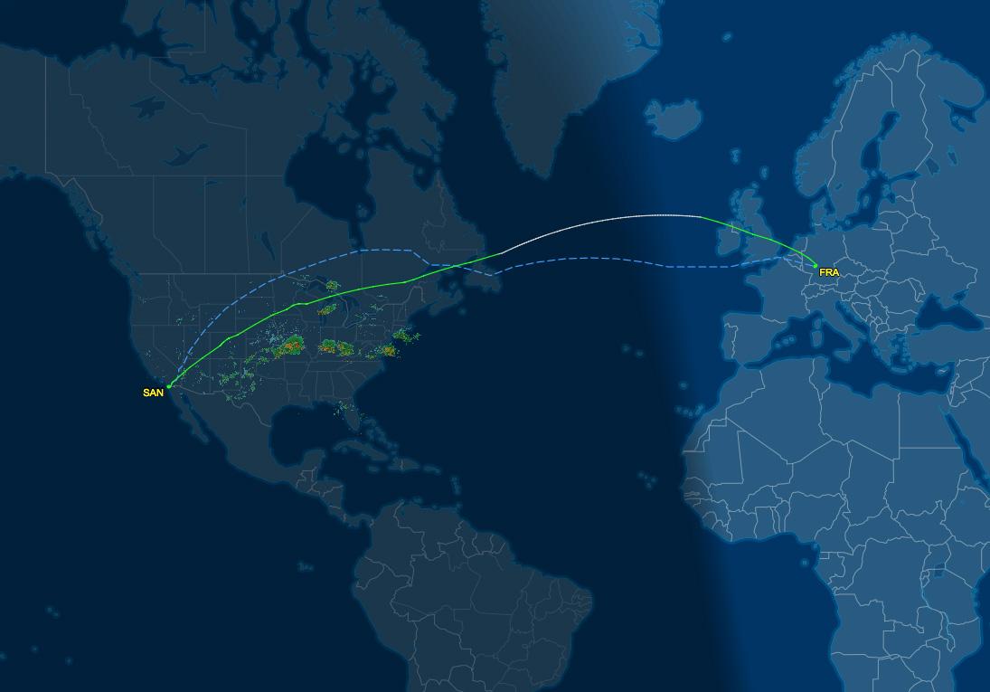 SAN-FRA flight track