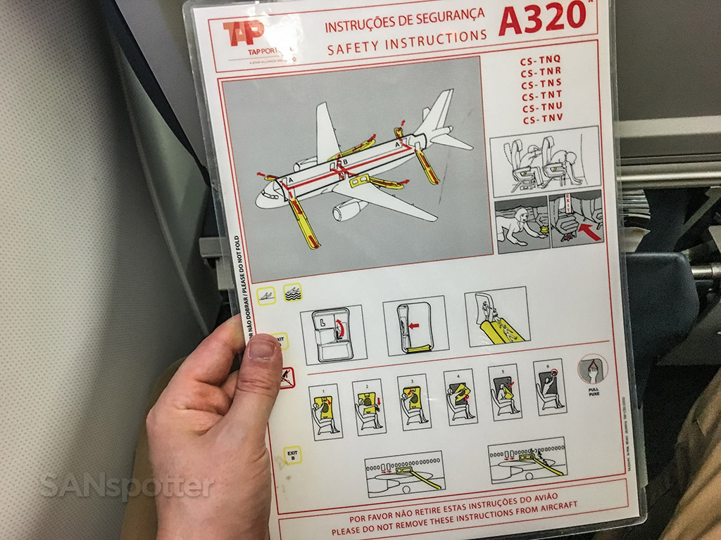 TAP Portugal A320 safety card back side