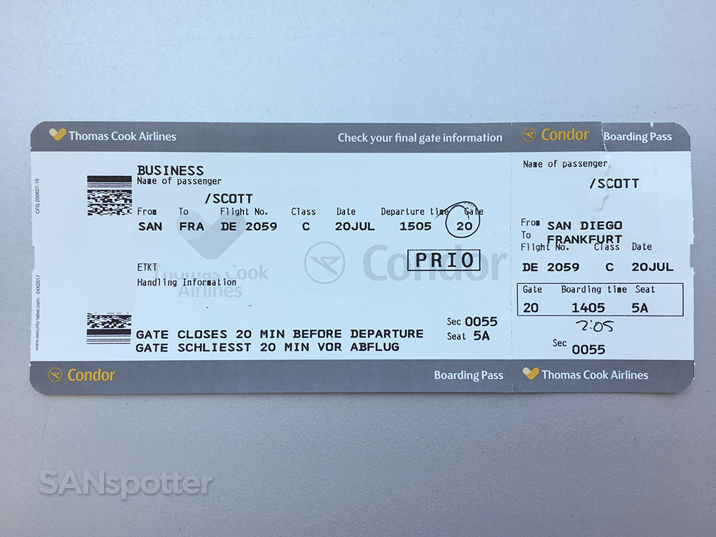 Condor Airlines boarding pass