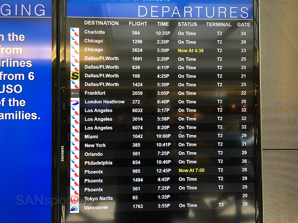 San Diego airport departures board July 2017