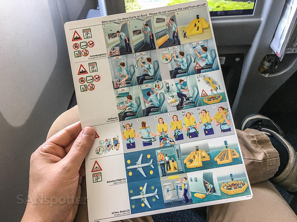 Condor Airlines 767 safety card back side