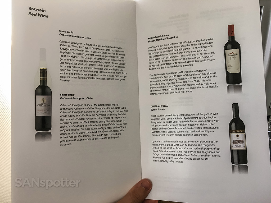 Condor business class wine selection
