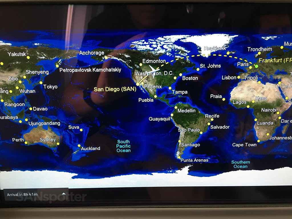 San Diego to Frankfurt in flight map