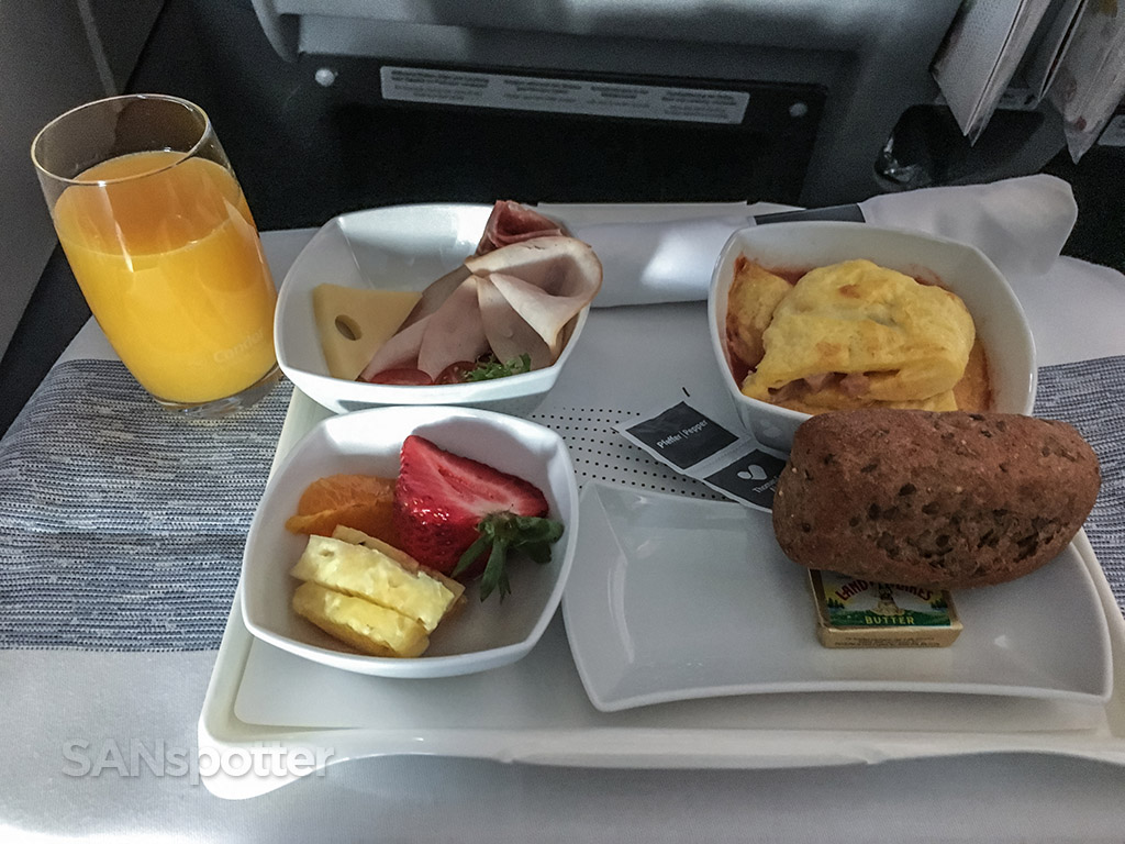 Condor business class breakfast