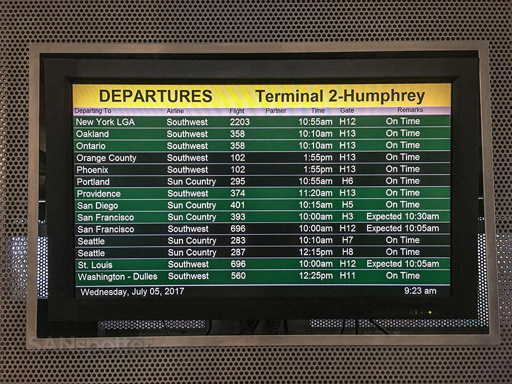 Humphrey terminal departures