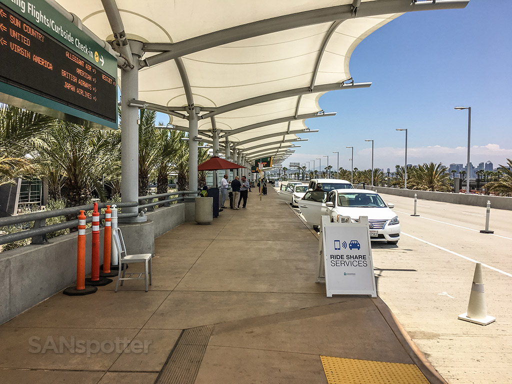 Ride share services pick up San Diego airport