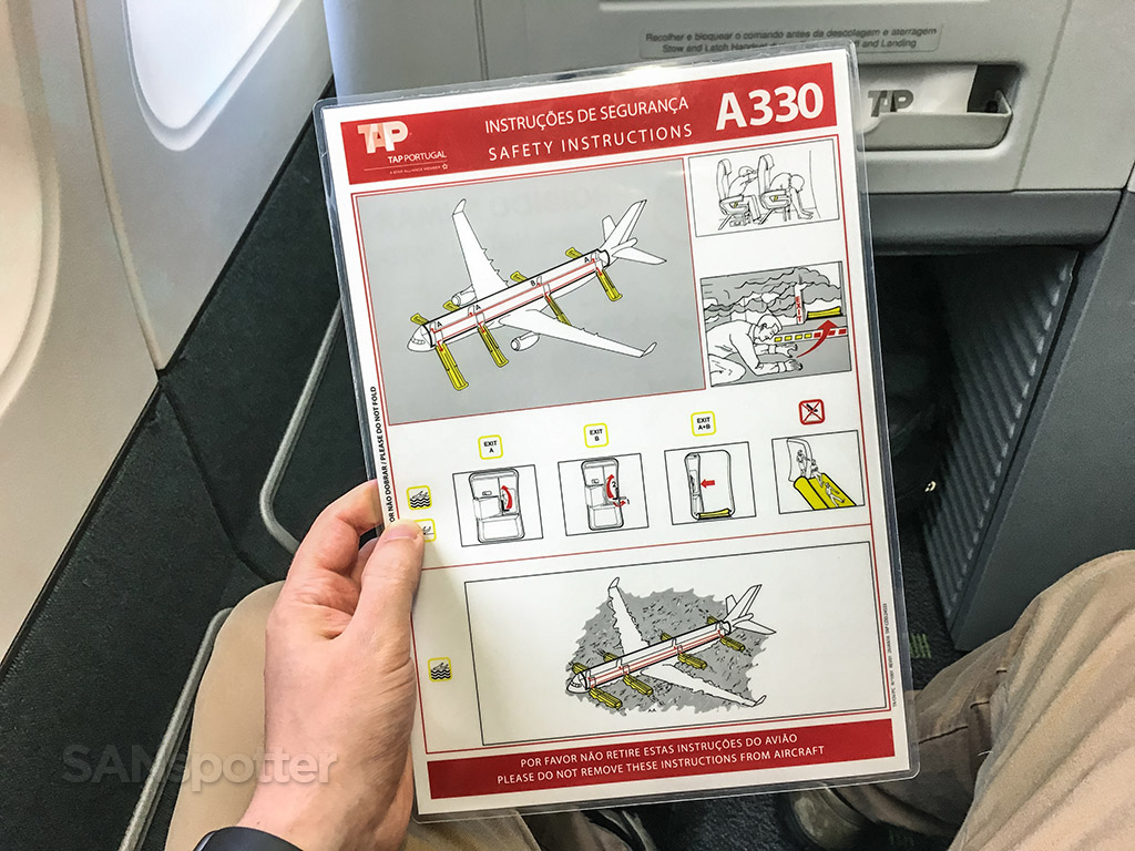 tap portugal a330 safety card