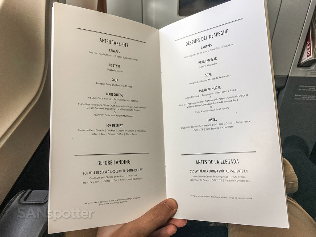 tap portugal a330 business class menu
