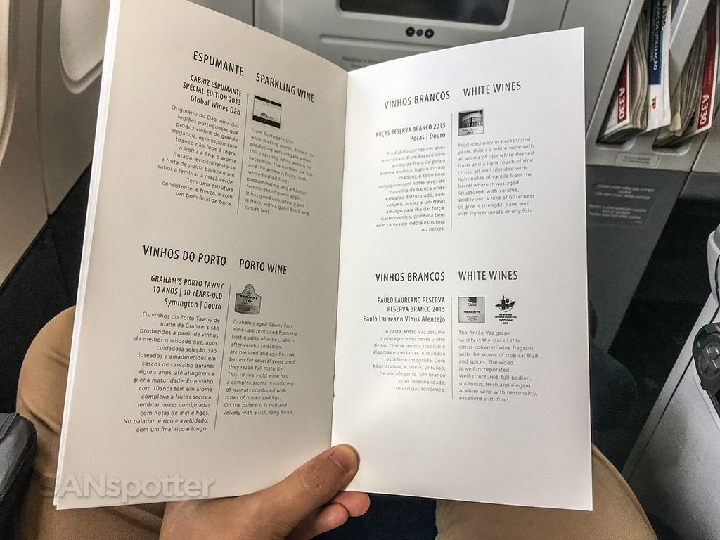 tap portugal business class wine list