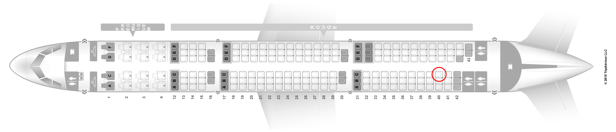 Air Canada Rouge a321 seat map