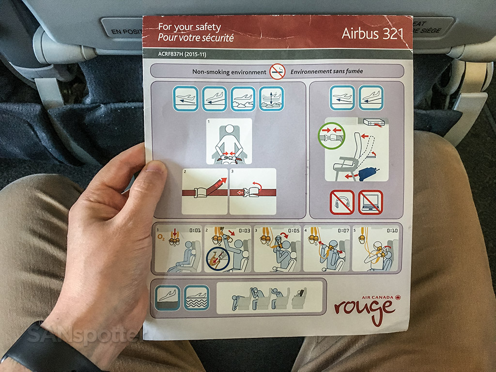 Air Canada Rouge a321 safety card
