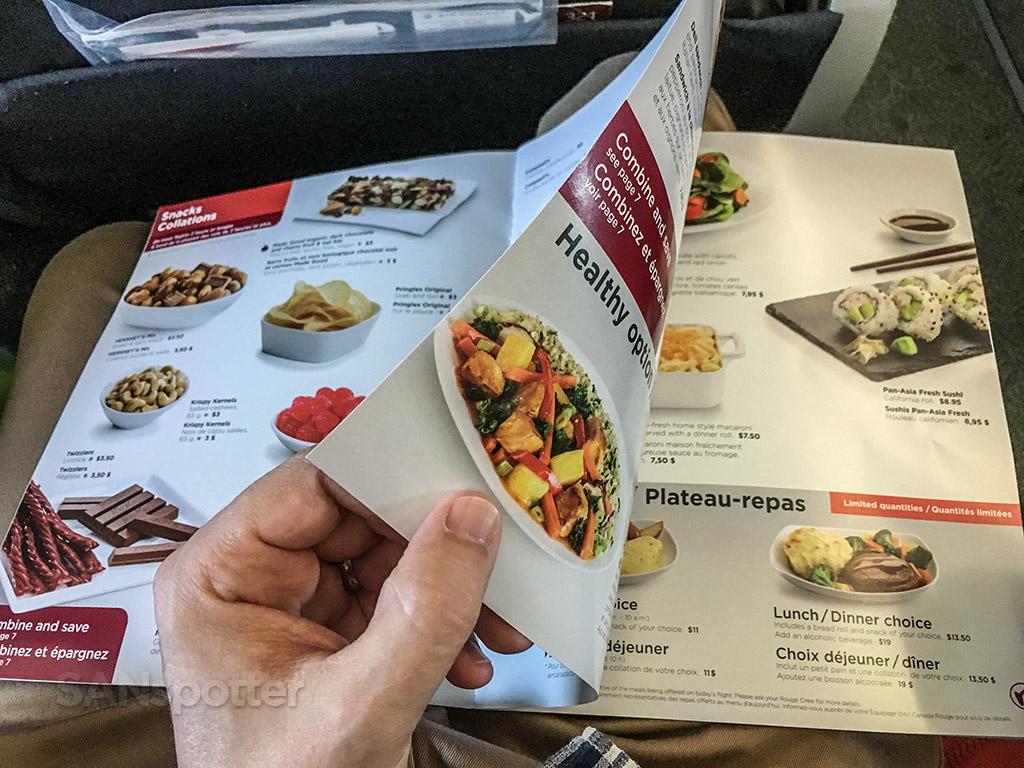 Air Canada Rouge food menu