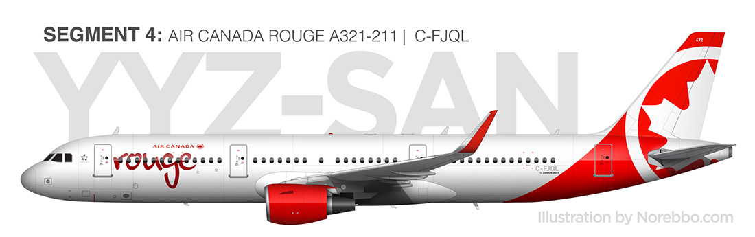 Air Canada Rouge a321 side view