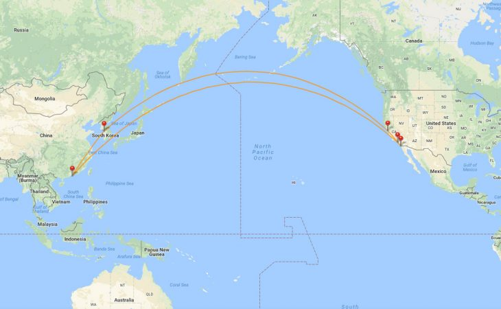 San Diego to Hong Kong route map