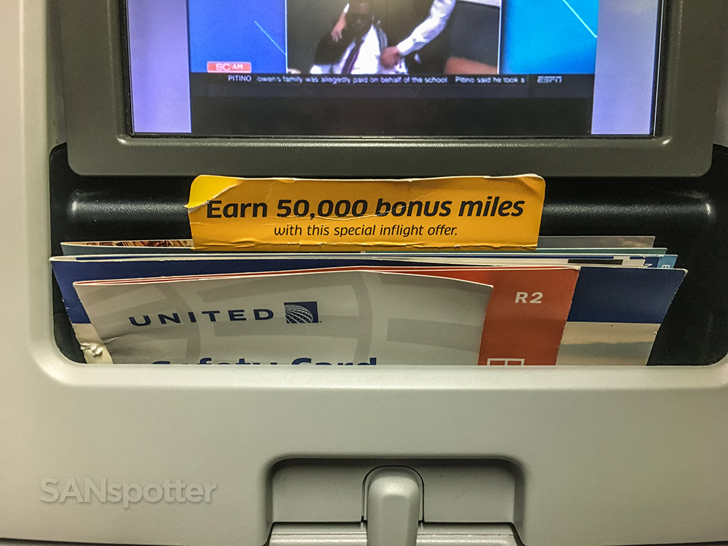 United Airlines 737–800 in-flight magazine pocket