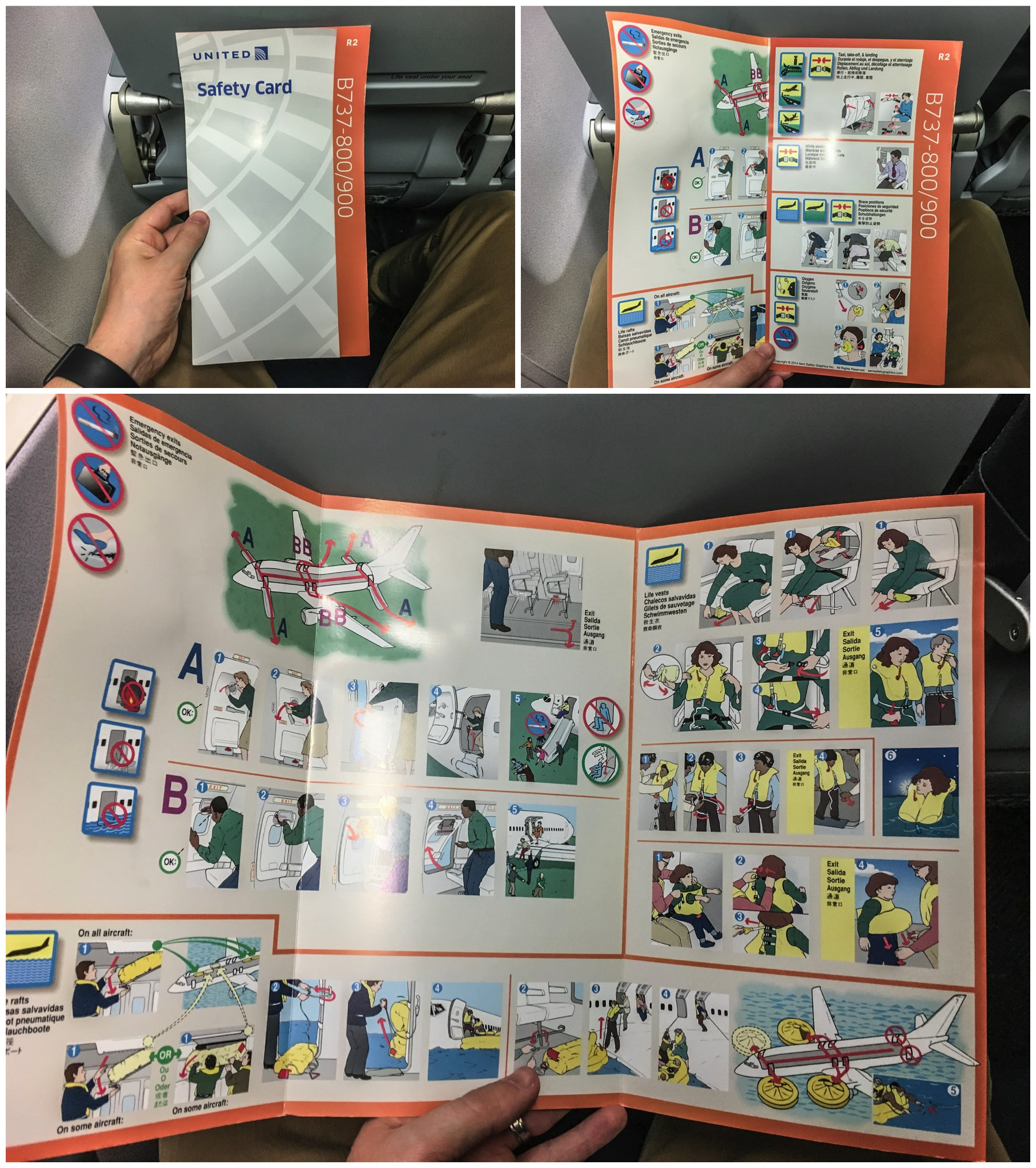 United Airlines 737–800 safety card