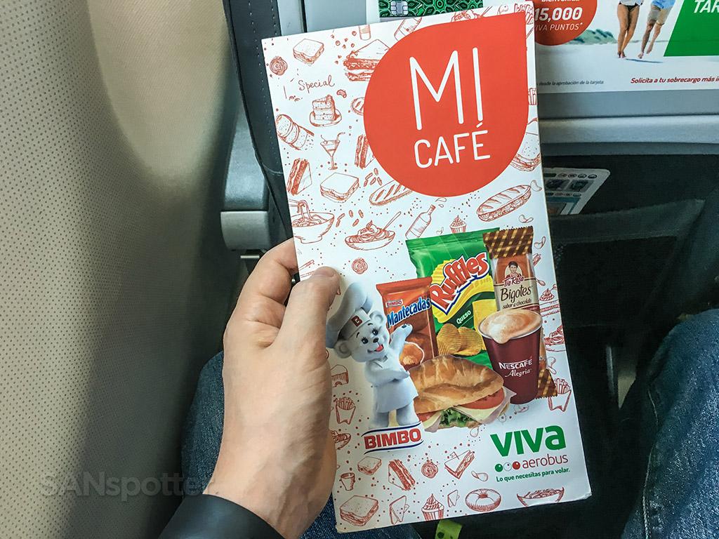 VivaAerobus menu