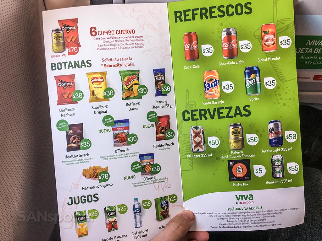 VivaAerobus drink menu