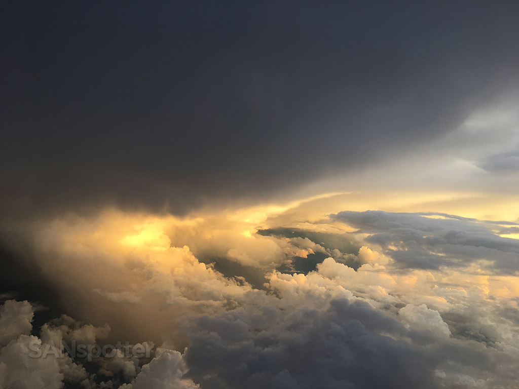 Flying into sunset