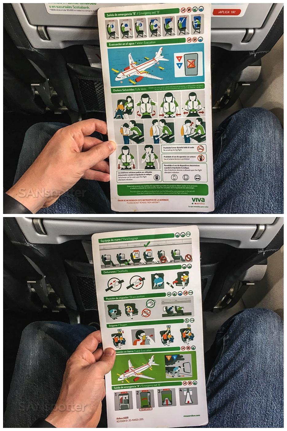 VivaAerobus a320 safety card