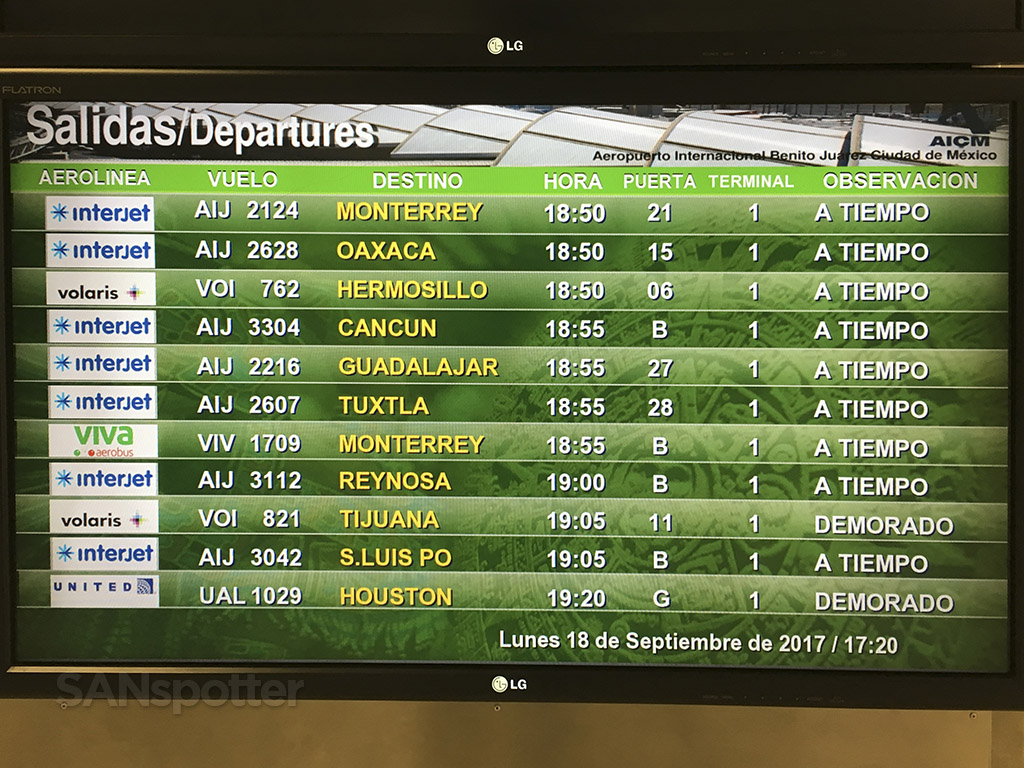 Mexico City airport departures