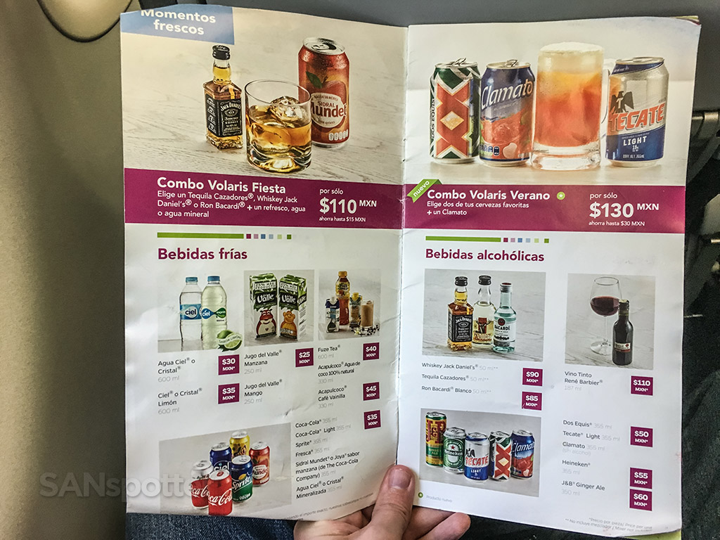 Volaris drink menu