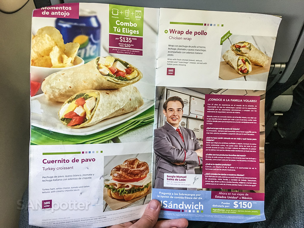 Volaris food for purchase menu