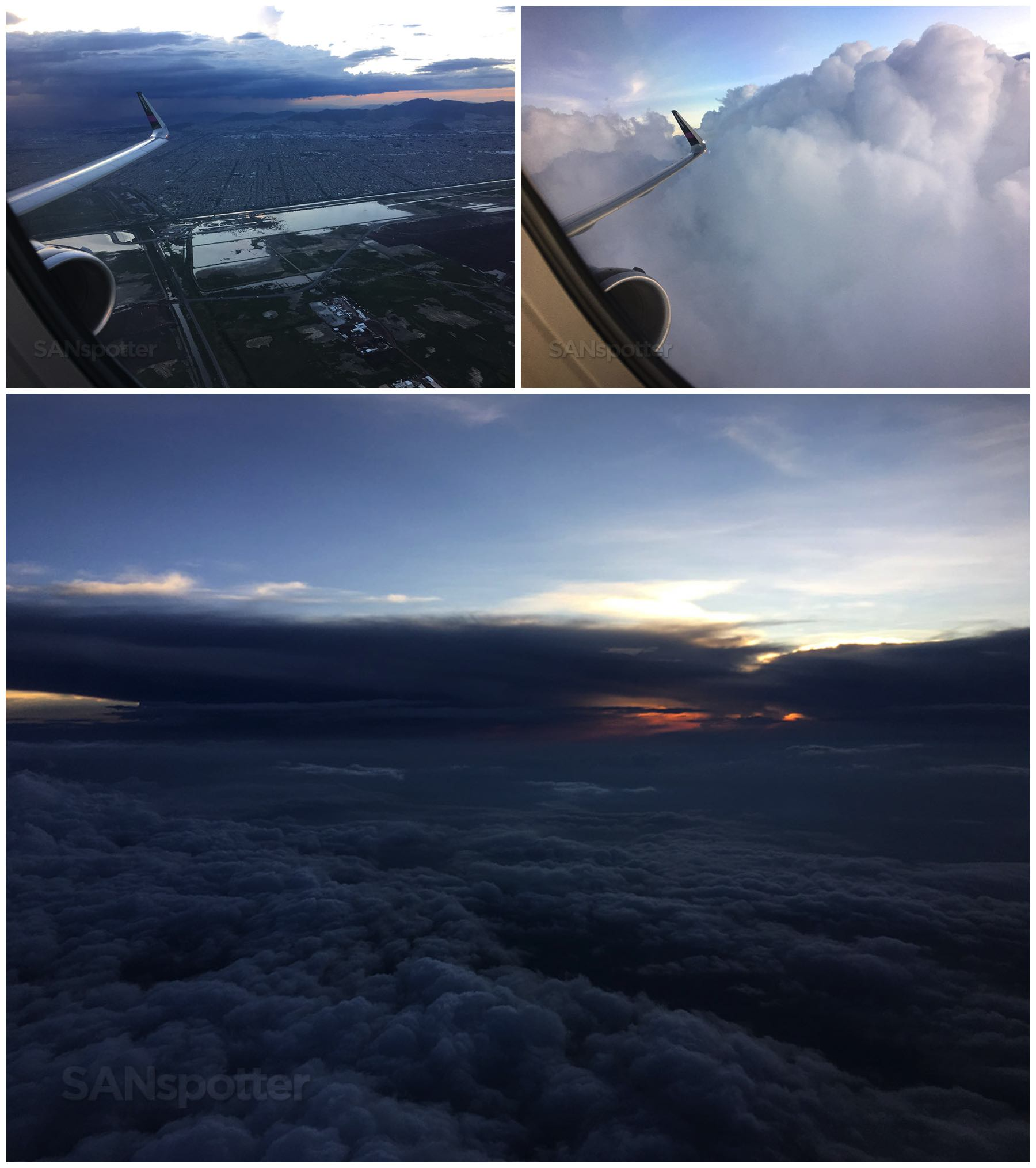 Flying through clouds and sunset