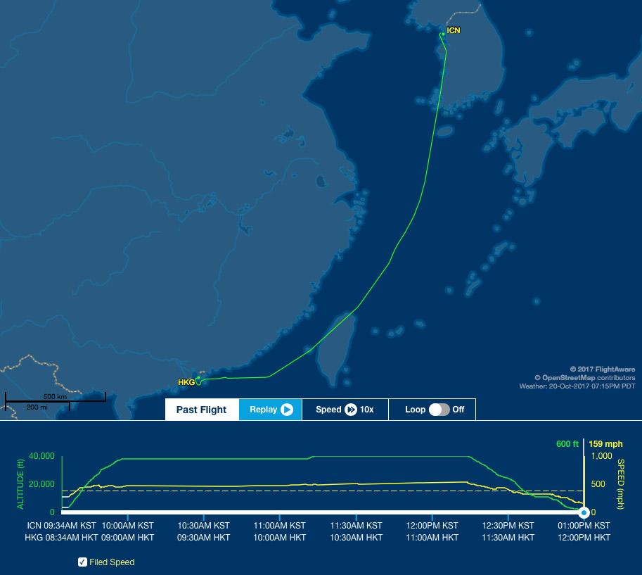 Our route from ICN to HKG today