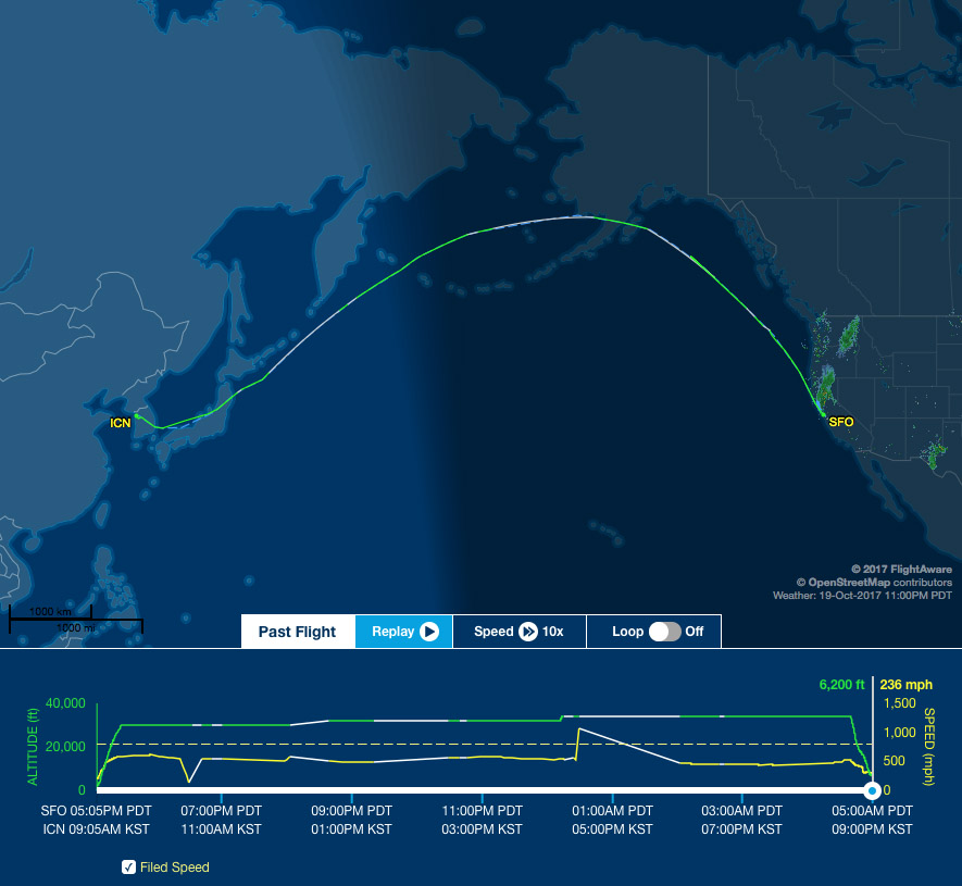 sfo to icn route map