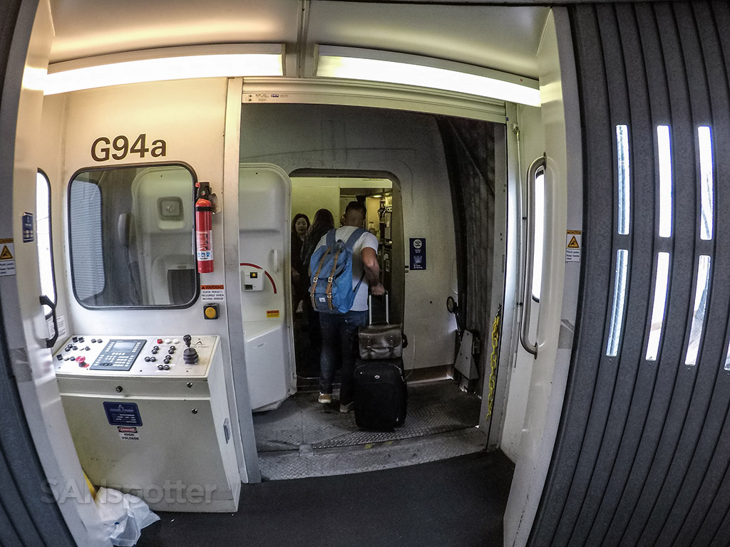 United Airlines 747–400 boarding door