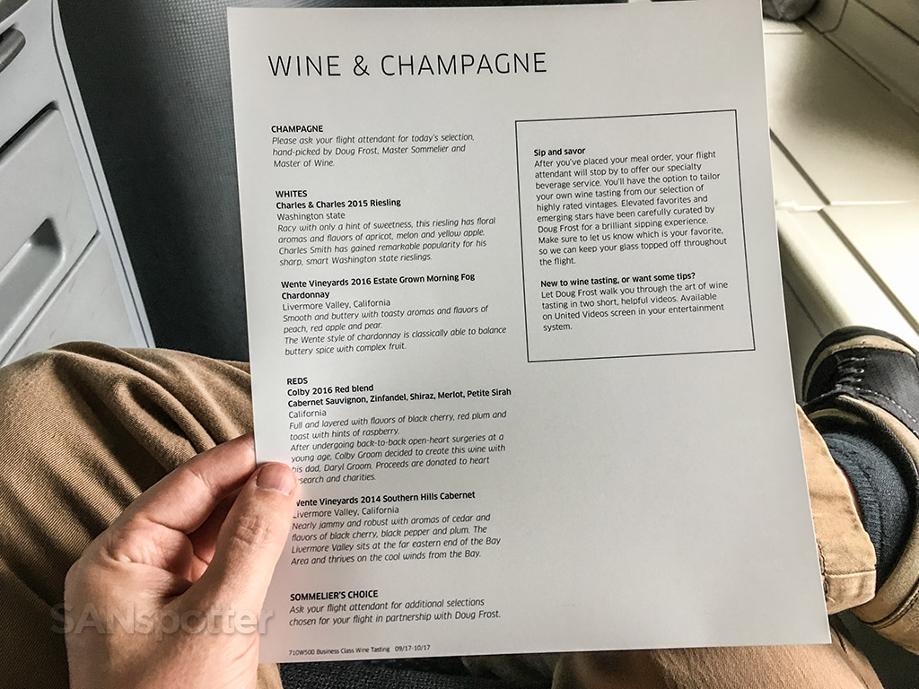 United airlines Polaris business class wine and champagne